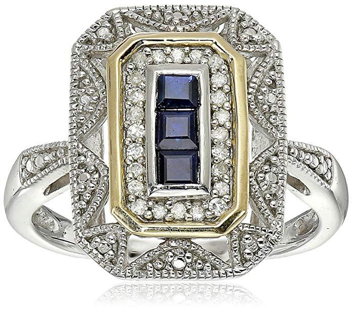 anillo artístico de plata y oro amarillo de 14 k con zafiro azul y diamante destacado