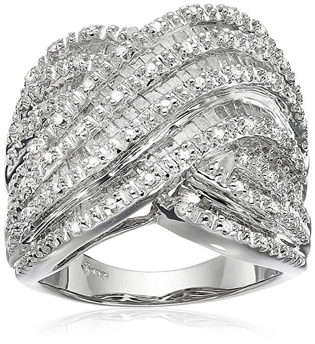 Anillo de diamante de plata de ley