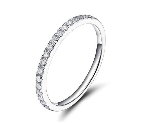 Anillo de eternidad de Eamti de plata de ley 925 con circonitas para boda
